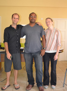 Radio Grenadines Director flanked by Tom Miller (left) Nuin-Tara Key (right)