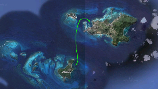 Green path shows the Journey between Mayreau and Union Island.